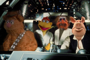 Fozzbacca, Scoot Skywalker ,Floyd Pinkobi and Ham Solo in the Millennium Falcon